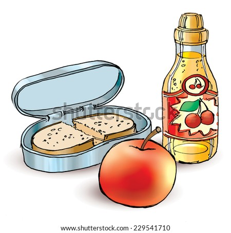 School lunch. Healthy filled lunch box with sandwich apple and fruit juice - stock photo