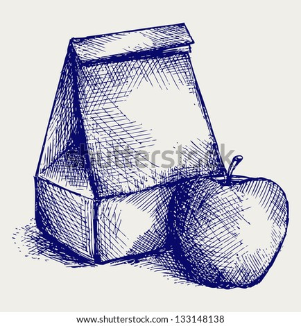 School lunch. Paper bag and apple. Doodle style. Raster version - stock photo