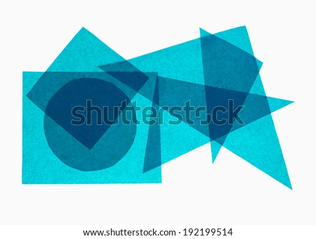 School maths - geometry aka geometric shapes in translucent paper, blue. - stock photo