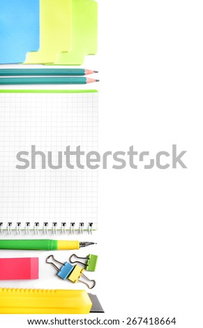 School office still-life on a white background. - stock photo