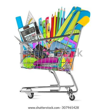 school / office supplies in shopping cart isolated on white background - stock photo