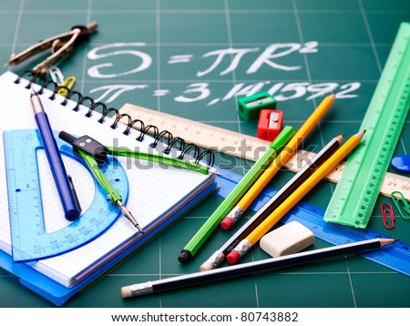 School  office supplies. Isolated. - stock photo