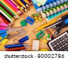 School  office supplies on board. - stock photo