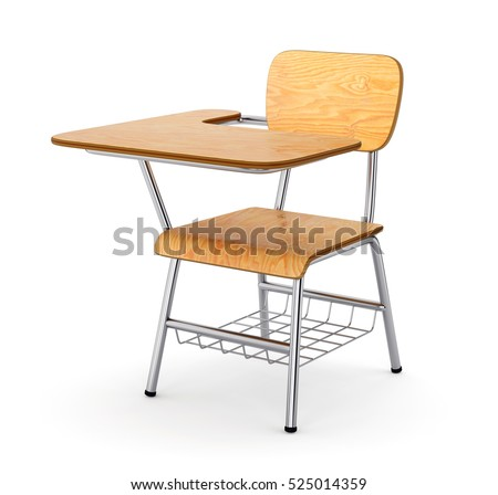 School College Desk Table Chair Isolated Stock Illustration