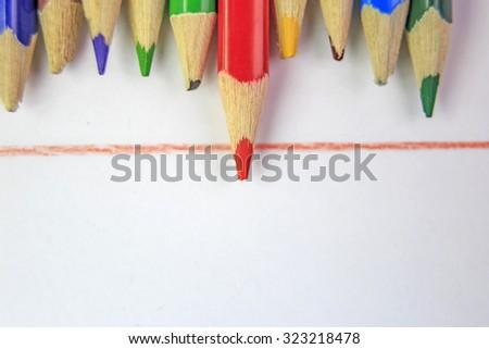 school pencil, competitive advantage - stock photo