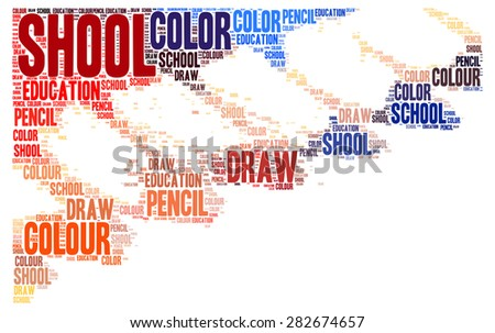 School pencils - colorful word cloud concept on white background