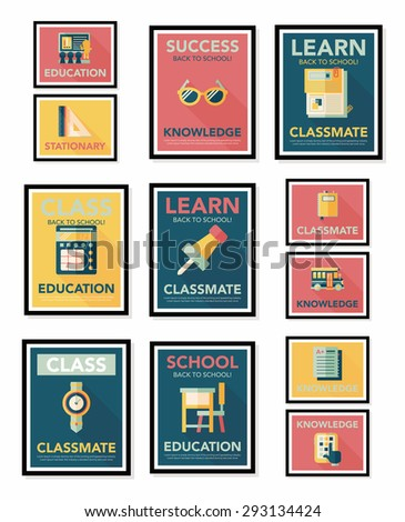 School poster flat banner design flat background set,