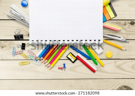 School. School and office supplies, booklet, paint, pencils isolated on white background - stock photo