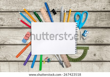 School. School stationery for school and office - stock photo