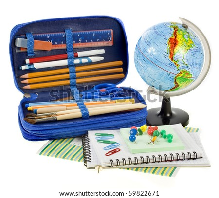 school set things, Back to School concept,  isolated over white background  - stock photo