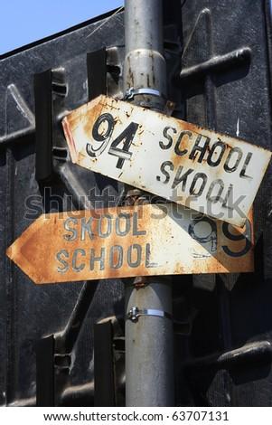 School sign on post - stock photo