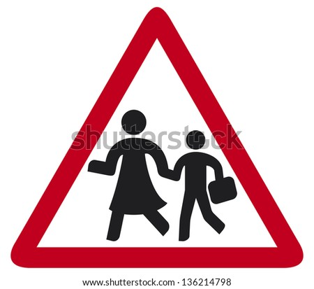 school sign (warning school sign, traffic sign school, roadsign with warning for crossing schoolkids) - stock photo
