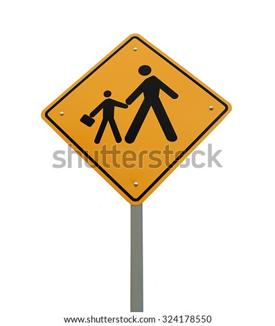 School signpost in white background