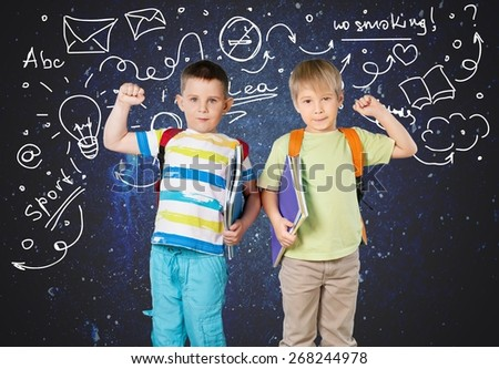 School, stand, group. - stock photo