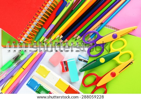 School stationery close-up background - stock photo