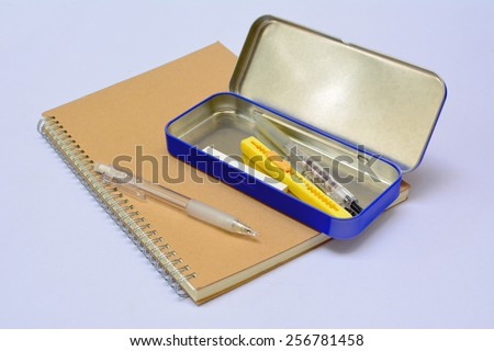 School stationery isolated .