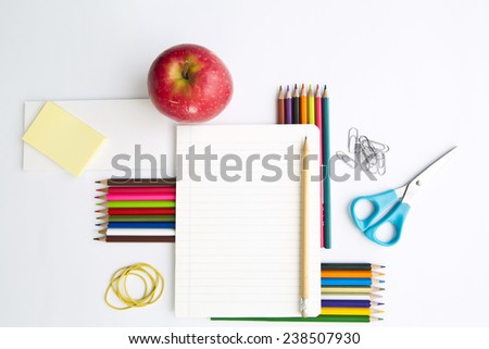 School stationery isolated on a white background  - stock photo