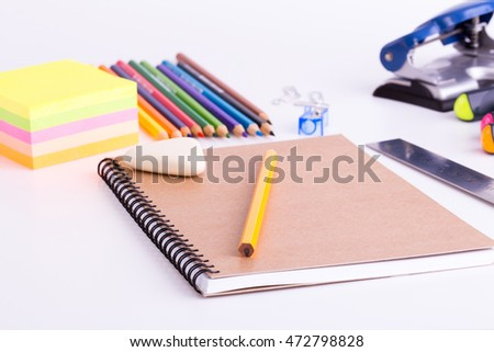 School stationery on white background.