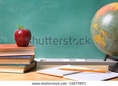 School still life with copy space - stock photo