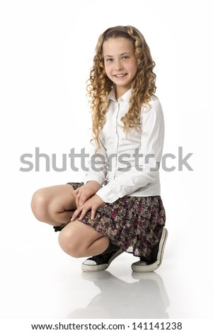 school student on a white background