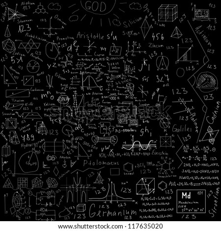 school subjects formulas and drawings -  made with chalk over black blackboard - stock photo