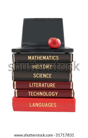 School subjects textbooks like mathematics, history, science, and technology with laptop and apple on a white background - stock photo