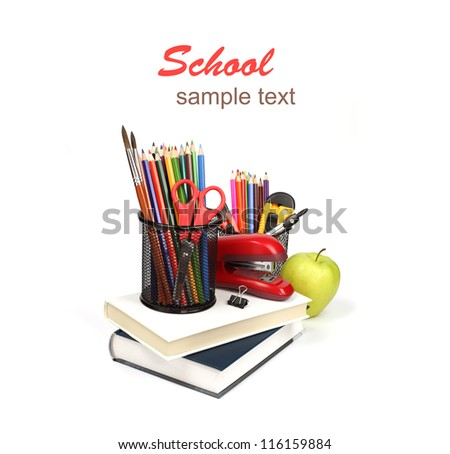 School supplies and accessories, books, pencils isolated on white background. Back to school concept.