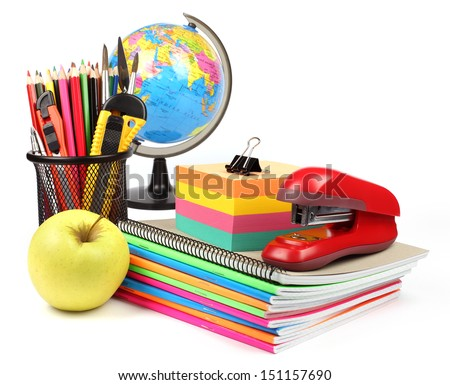 School supplies and accessories: globe, notebook stack, pencils, isolated on white background. Back to school concept.