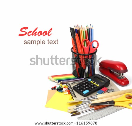 School supplies and accessories, notebook, pencils isolated on white background. Back to school concept.