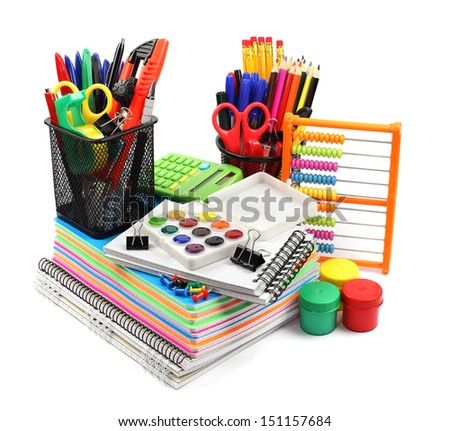 School supplies and accessories: notebook stack, pencils, paint, calculator, abacus, isolated on white background.