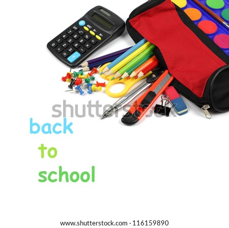 School supplies and pencil case isolated on white background with copyspace.