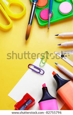 School supplies, back to school background. - stock photo