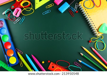 School supplies, background with copy space - stock photo