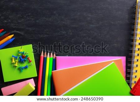 School supplies close-up - stock photo