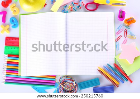 School supplies close-up - stock photo