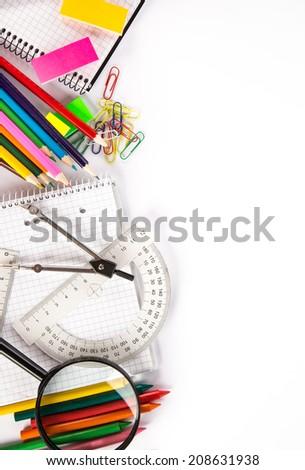 School supplies, close-up photo. - stock photo