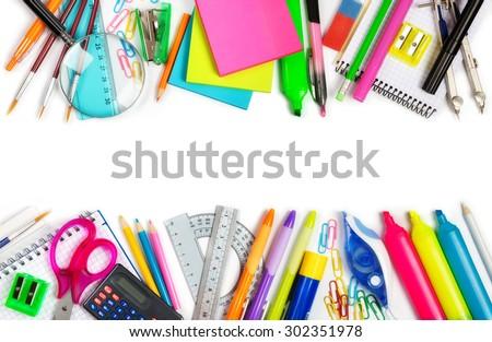 School supplies double border on white  - stock photo