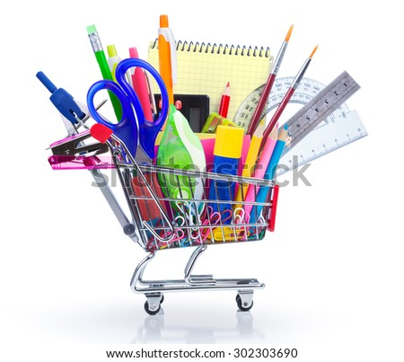 school supplies in shopping cart isolated on white - back to school  - stock photo