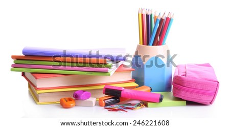 School supplies isolated on white - stock photo