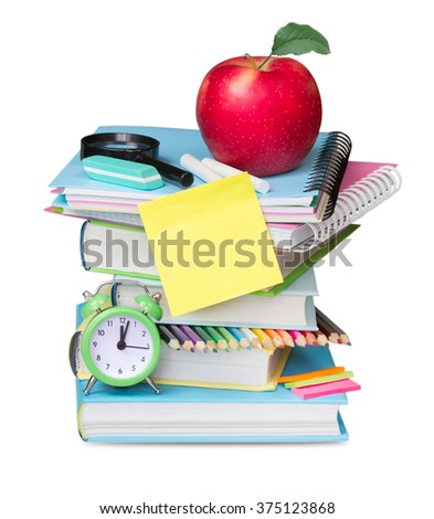 School supplies isolated on white. Stack books apple clock reminder empty blank. Study education concept. - stock photo