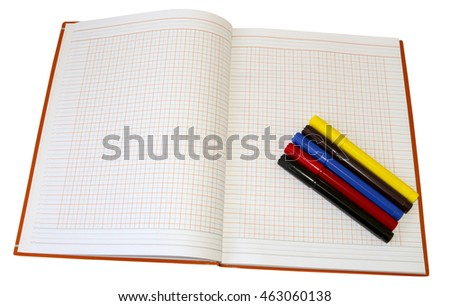 School supplies. Notebook and colored markers isolated on a white background . Painting with colored pencils and markers. To make notes.