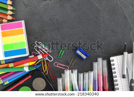 School Supplies On Black Background. Copy Space - stock photo