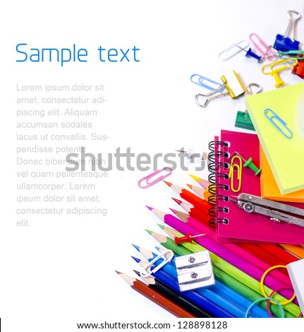 School supplies on white background - stock photo