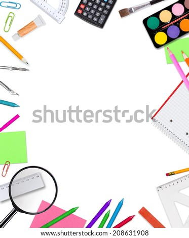 School supplies on white background, close-up. - stock photo
