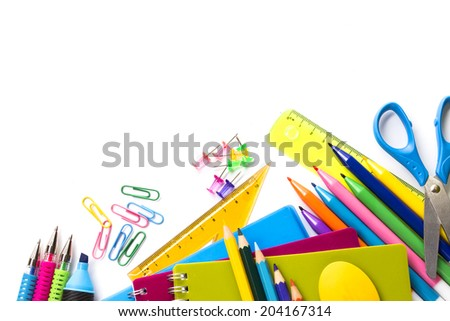 School supplies on white background ready for your design