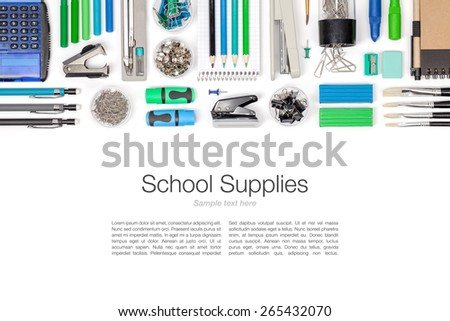 school supplies on white background top view - stock photo