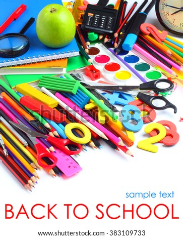 School supplies tools pencils crayons colorful assortment isolated white background