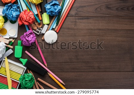 school supplies with copy space on the table - stock photo
