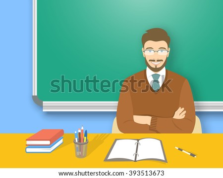 School teacher at desk in class flat education illustration. Young attractive smiling man sitting at table with supplies in front of blackboard. Studying, learning, training concept
