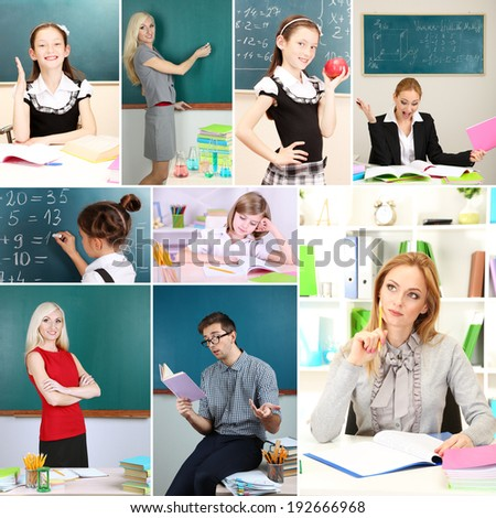 School time collage close-up - stock photo